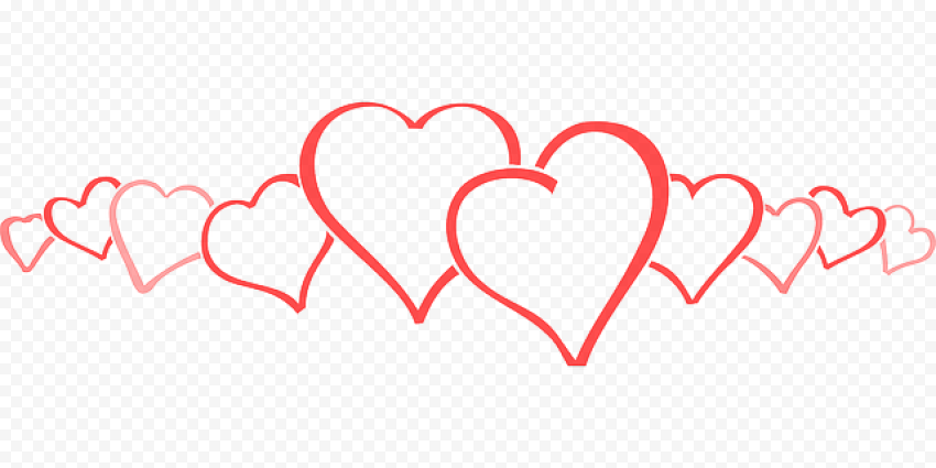 Pink And Red Wedding Hearts Outline