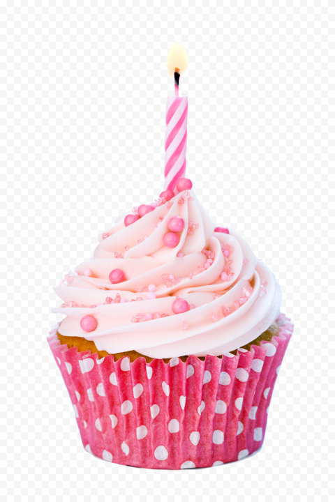 Pink Birthday Cupcake With Number One Candle PNG