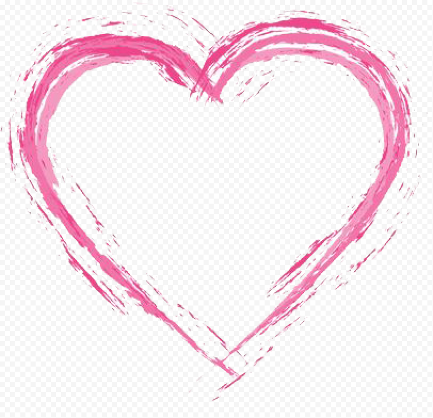 Pink Heart Brush Effect Watercolor