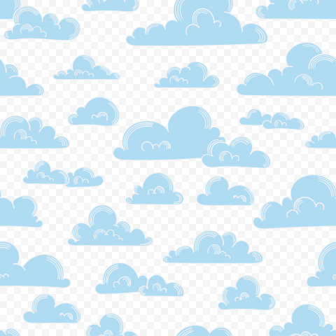 PNG Blue Cartoon Clouds Pattern Background