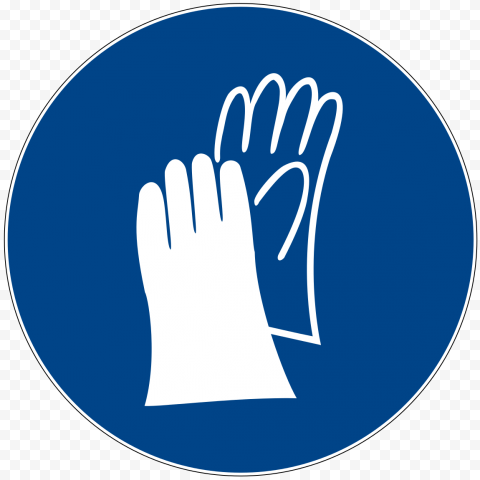 PPE Hand Gloves  Blue Round Icon