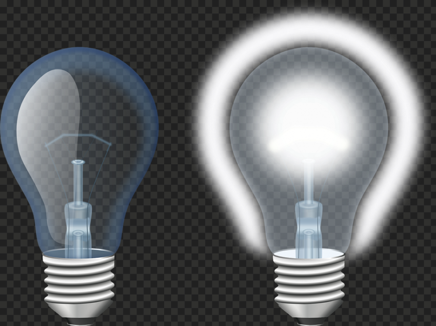 Realistic On & Off Light Bulbs Illustration PNG