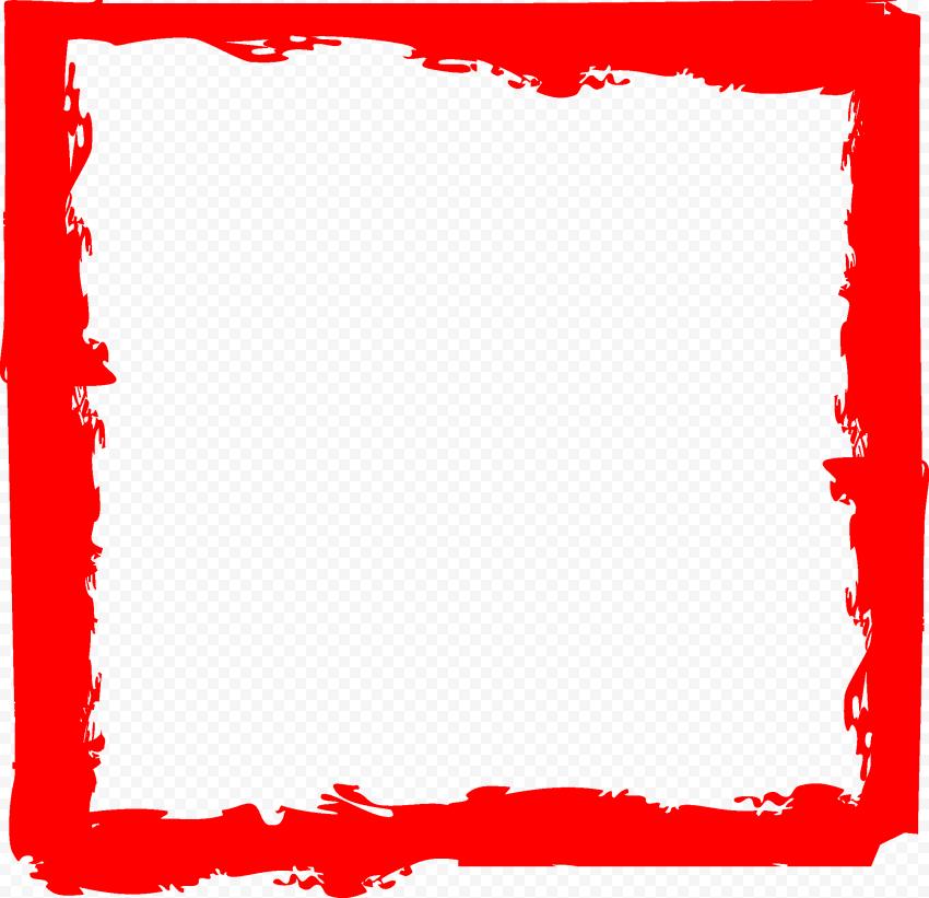 Red Brush Stroke Grunge Square Frame PNG