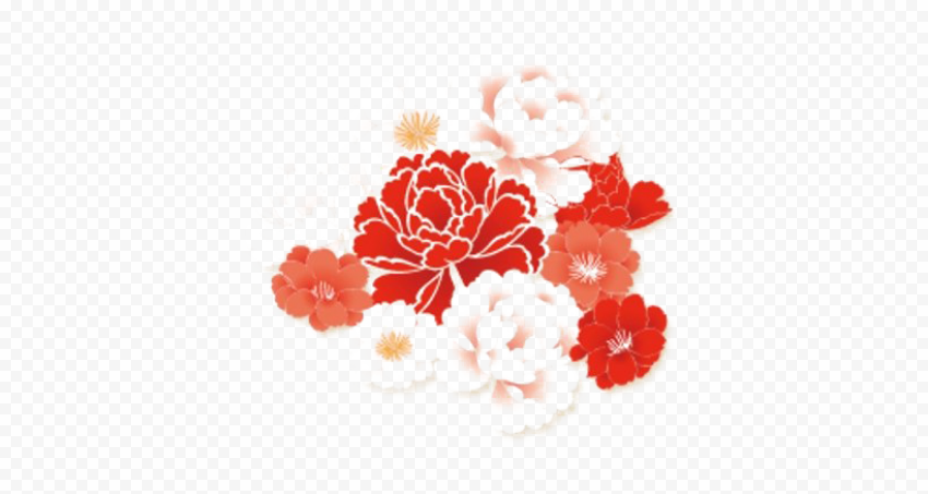 Red Chinese Flower Watercolor
