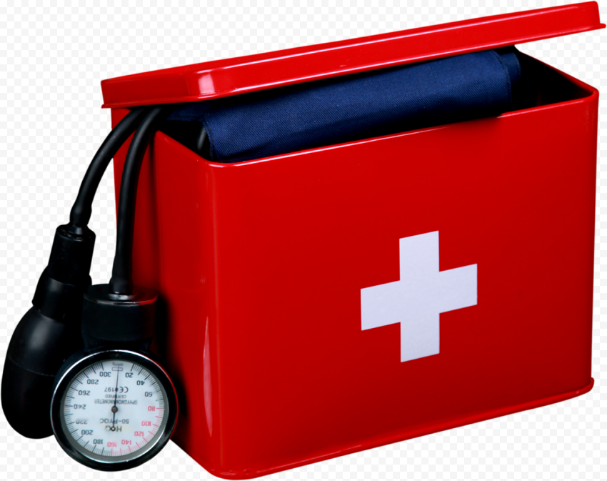 Red First Aid Metal Box With Blood Measure