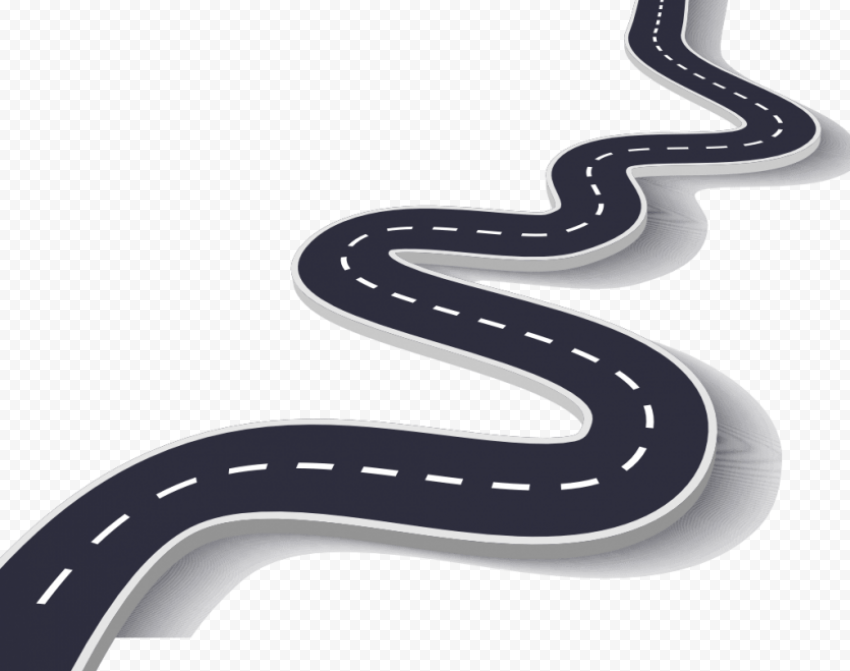 Road Cartoon curved line no background