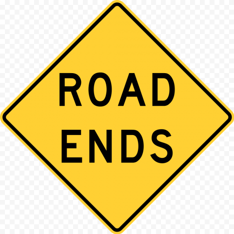 Road Ends Sign Square Yellow Traffic Driving