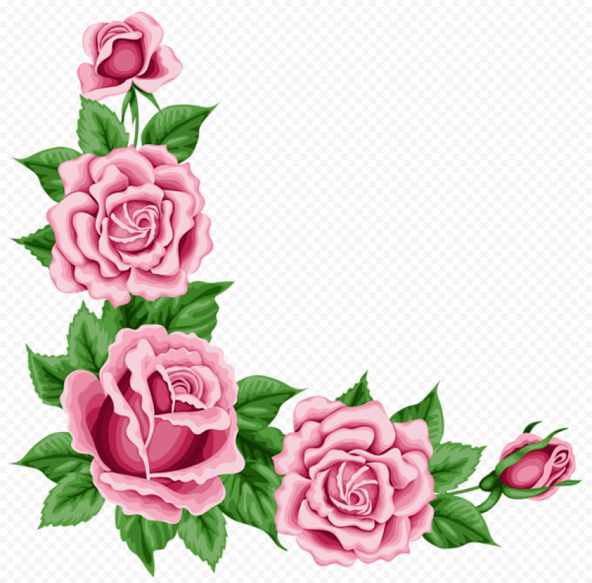 Romantic Pink Flower Border Corner Watercolor
