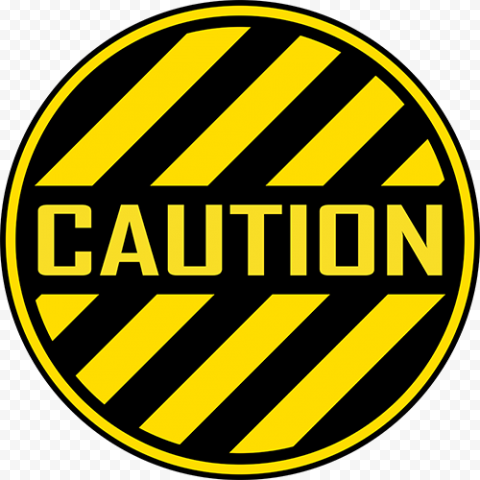 Round Circle Caution Sign Yellow Black Safety