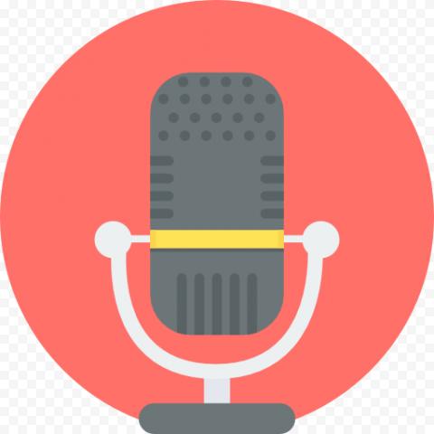 Round Flat Mic Sound Voice Recording Icon