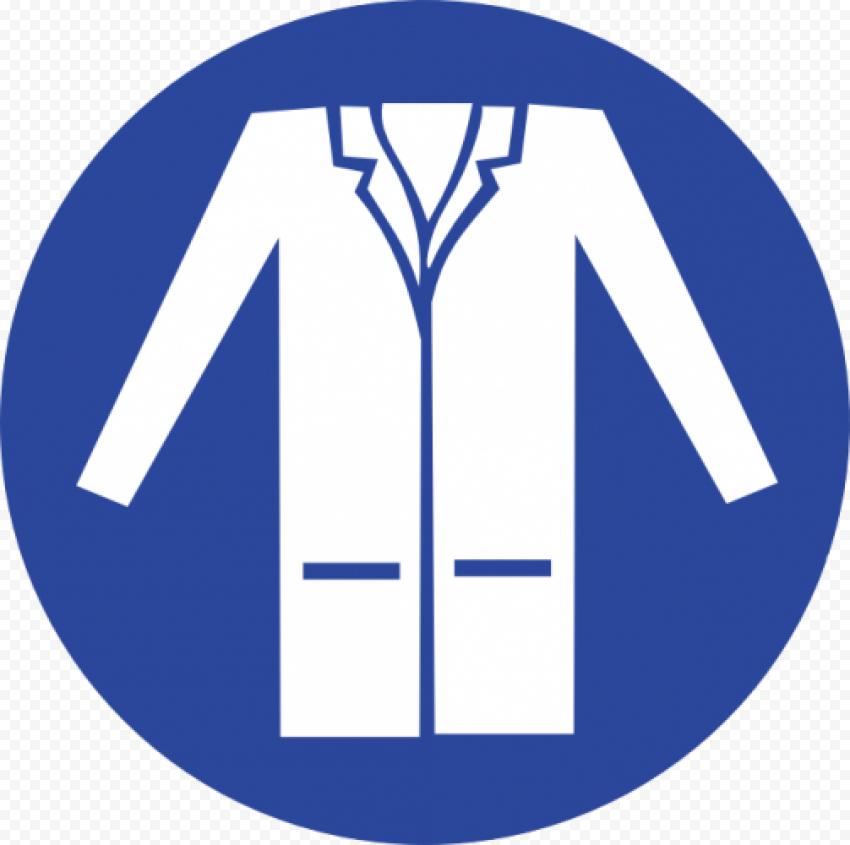 Round Laboratory Coat Jacket Safety PPE Sign
