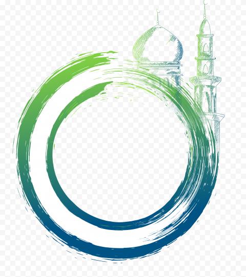 Round Ramadan Mosque Masjid Icon Brush Effect