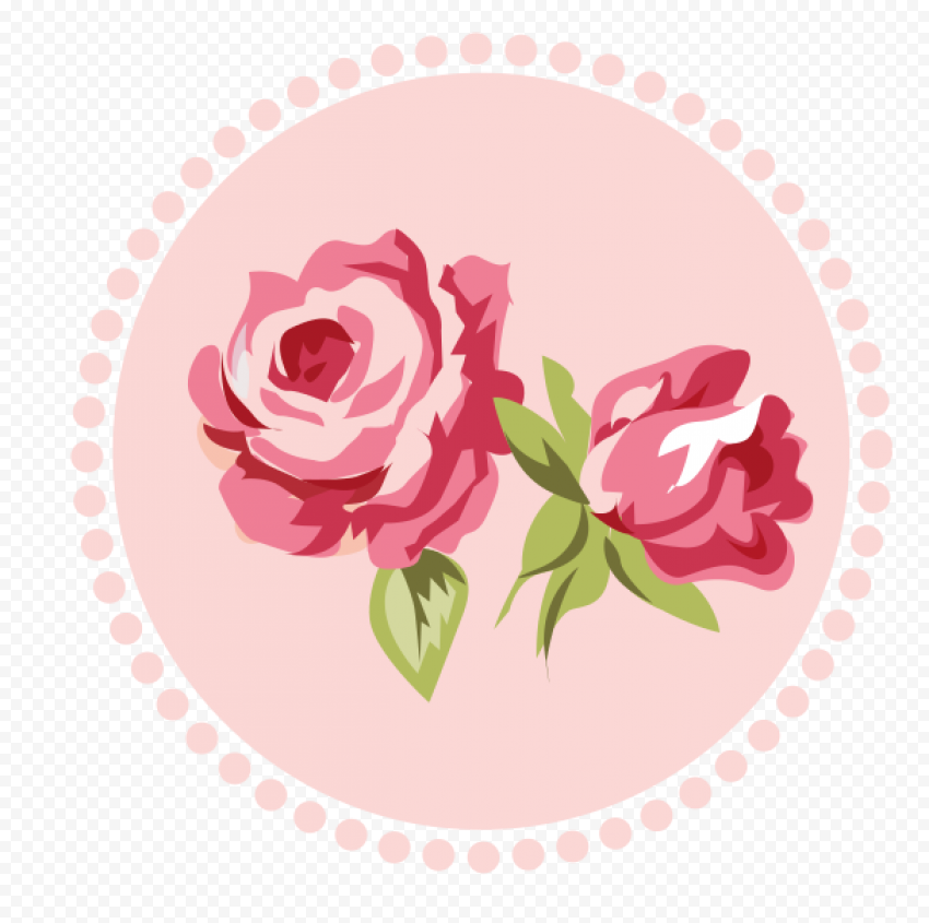 Round Romantic Pink Flower Icon