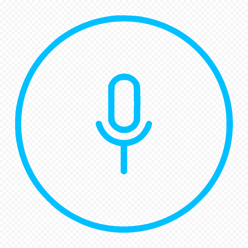 Round Voice Recorder Mic Line Blue Icon Transparent Background