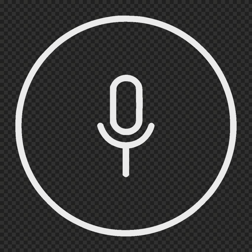 Round Voice Recorder Mic Line Gray Icon Transparent Background