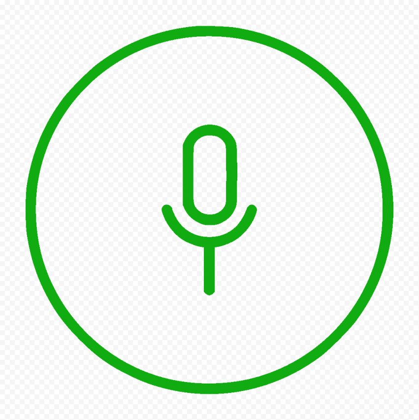 Round Voice Recorder Mic Line Green Icon HD PNG