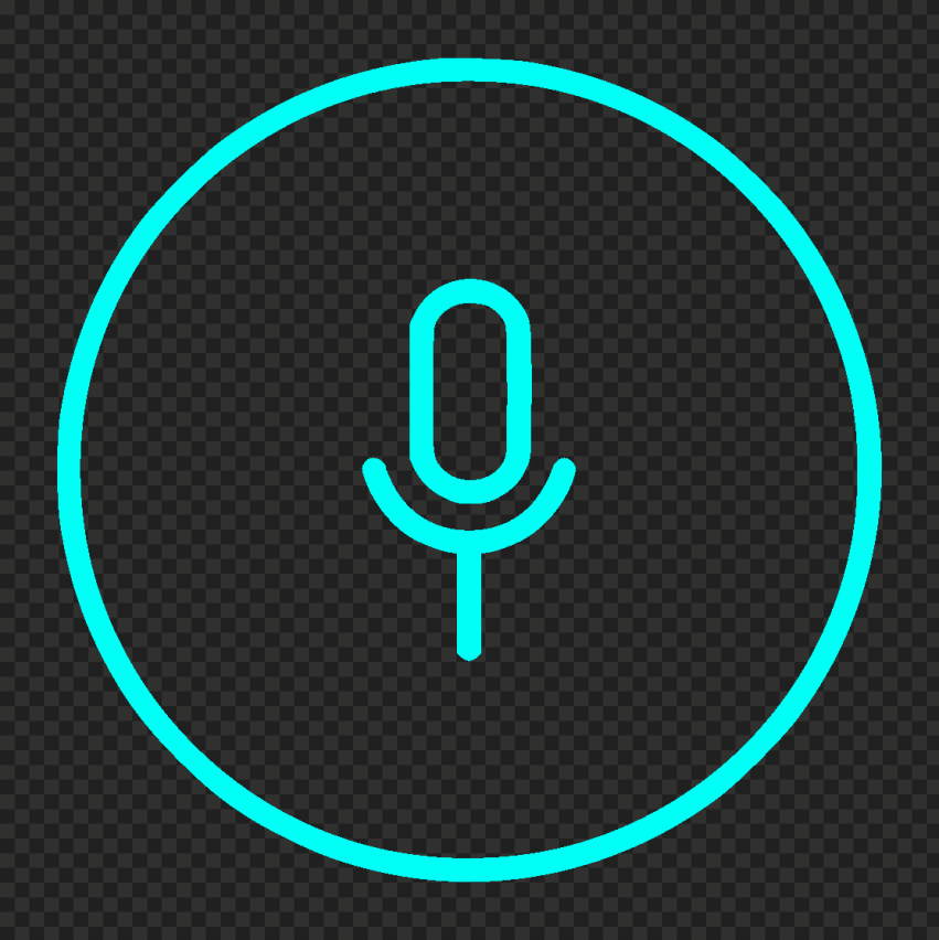 Round Voice Recorder Mic Line Light Blue Icon HD PNG