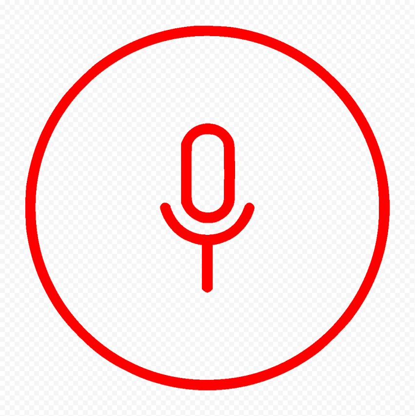 Round Voice Recorder Mic Line Red Icon FREE PNG