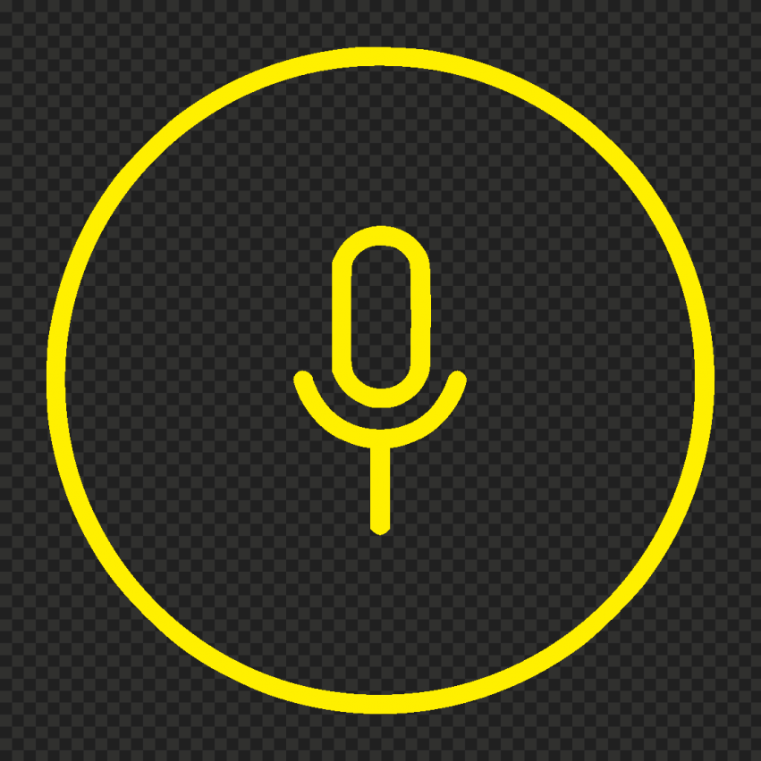 Round Voice Recorder Mic Line Yellow Icon Transparent PNG