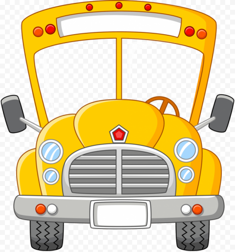 School bus front yellow no background