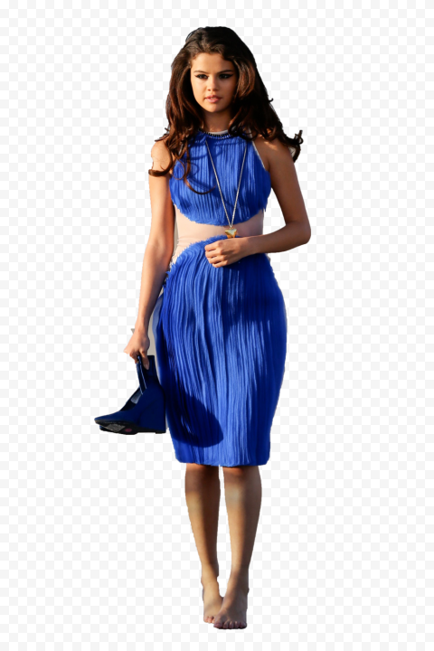 Selena Gomez Blue Shoes In Hand