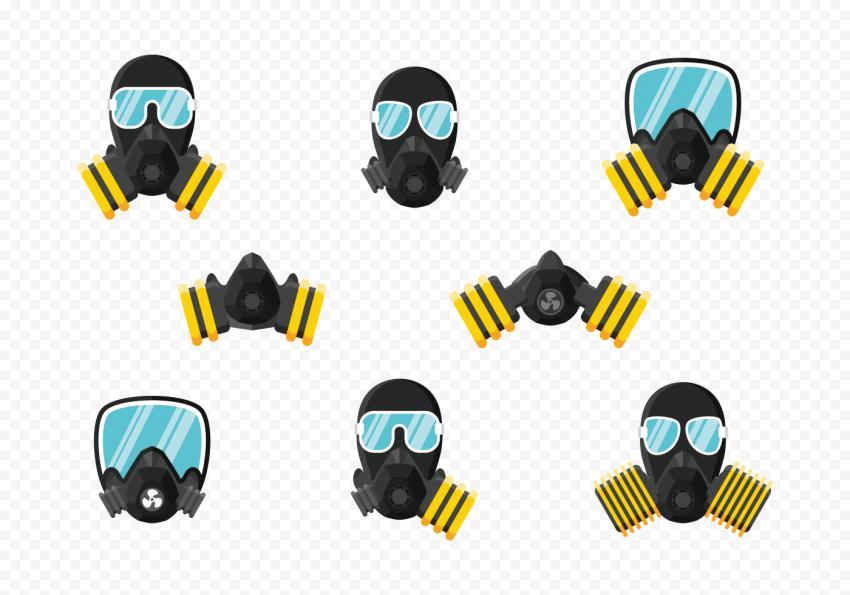 Set Icons Dust Masks Respirator Gas Safety