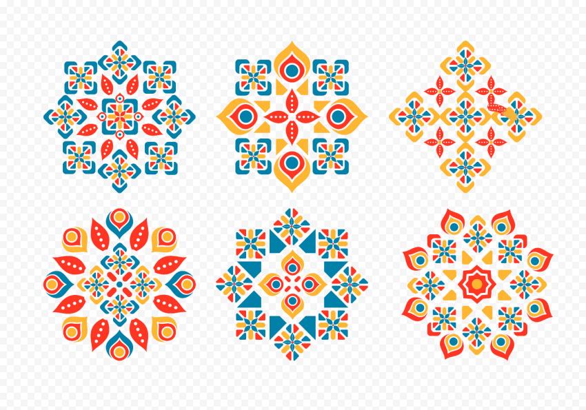 Set Modern Geometric Islamic Ornament Patterns