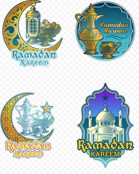 Set Of English Ramadan Kareem Logos Icons