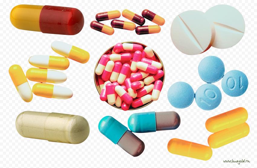 Set Pills Drugs Medication Capsules Round Oval