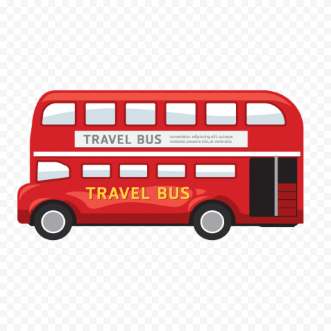 Side View Cartoon London Double Decker Bus