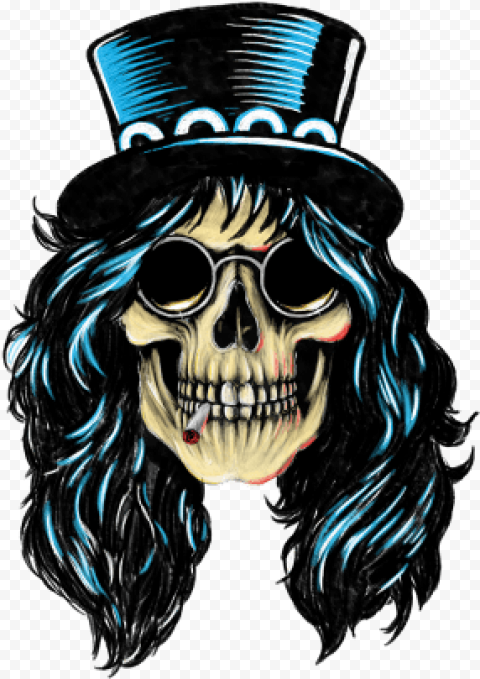 Skull rock n roll blue hat smoking