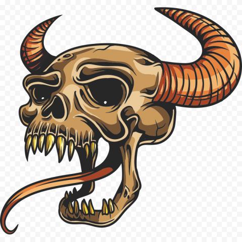 Skull Stickers Tattoo Skeleton Horns