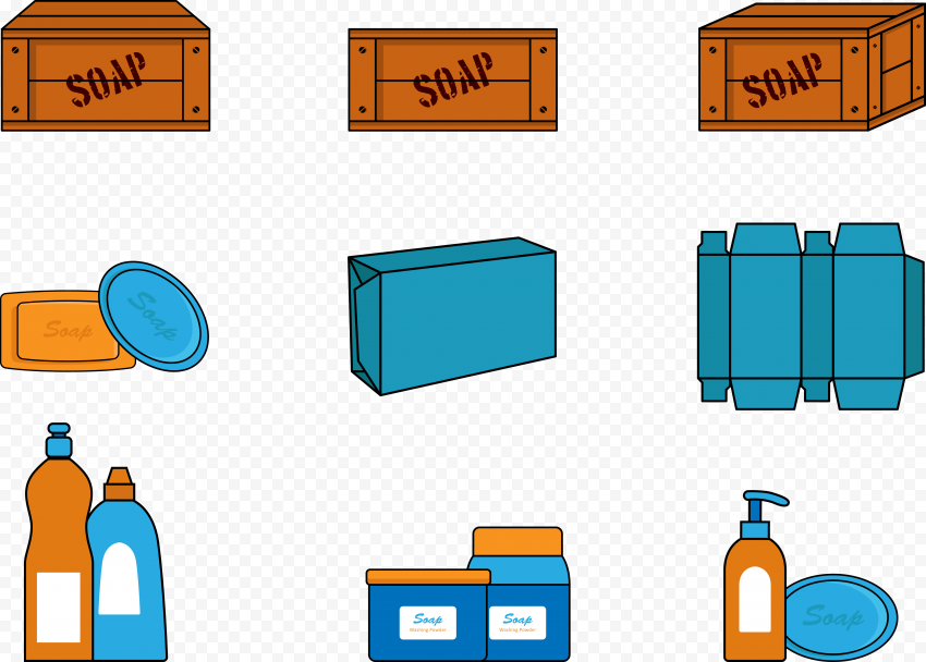 Soap Liquid Bar Cartoon Clipart Packaging Template