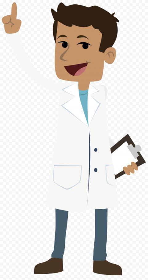 Standing Doctor White Coat Cartoon Illustration