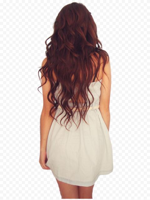 Standing Woman Back Long Hair White Short Dress