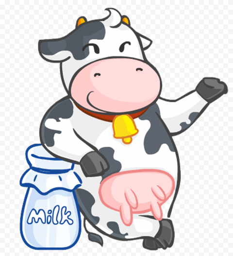 Transparent HD Standing Up Cartoon Cow Clipart Character