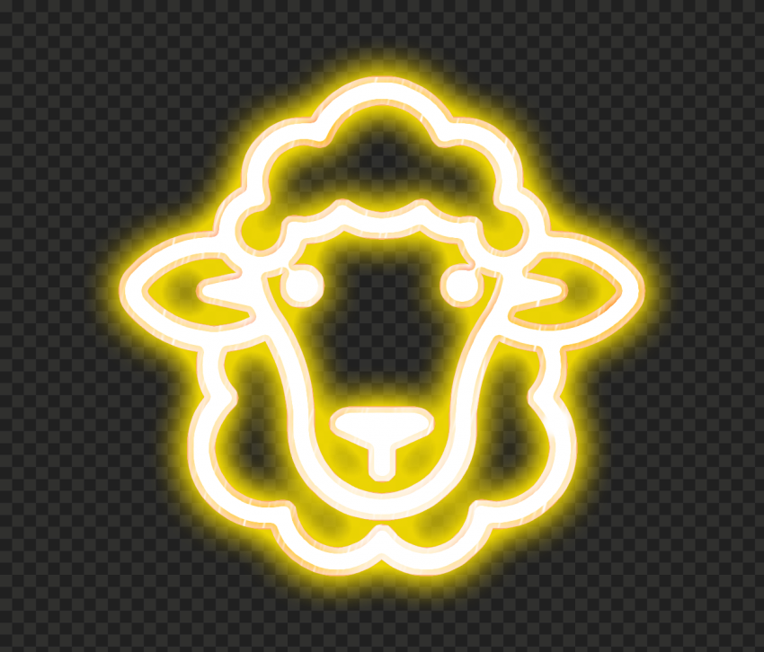 Transparent HD Yellow Glowing Neon Sheep Head Face Icon