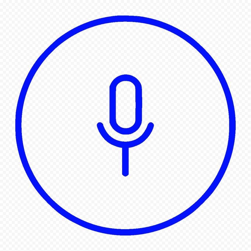 Transparent Round Voice Recorder Mic Line Dark Blue Icon