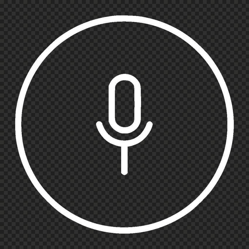 Transparent Round Voice Recorder Mic Line White Icon
