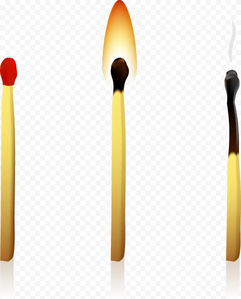 Transparent Three Matchstick Matches Illustration