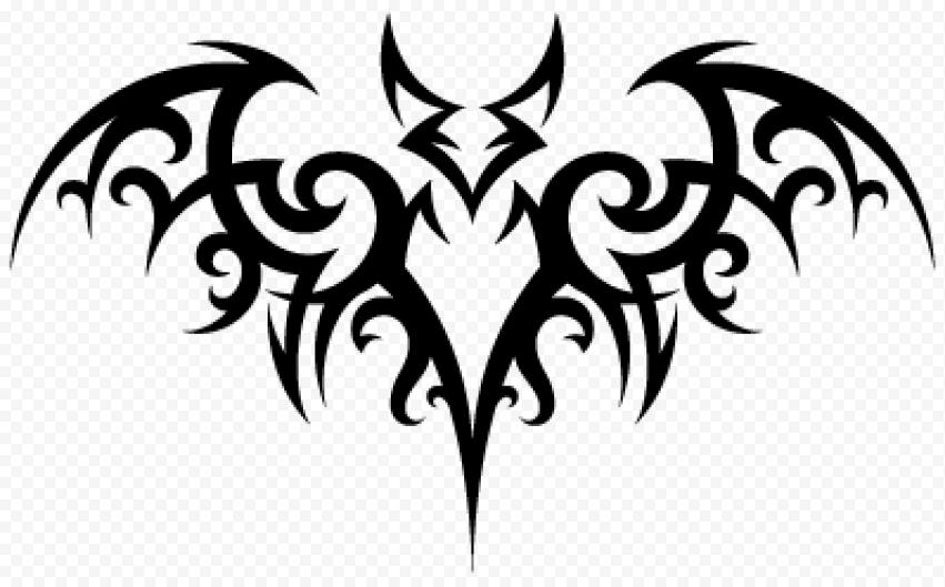 Tribal Black Bat Tattoo Design