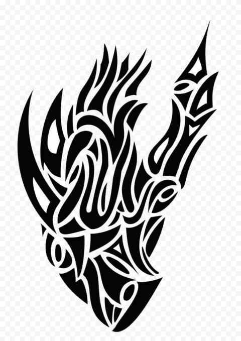 Tribal Heart Tattoo Black