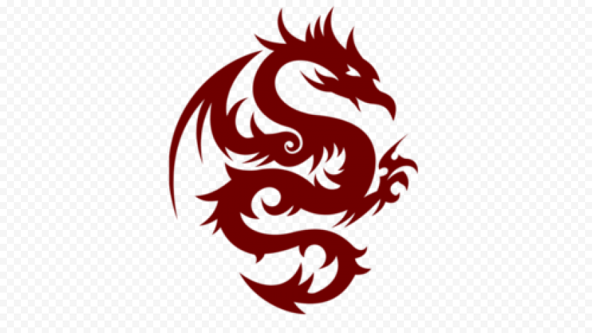 Tribal Red Dragon Tattoo Design PNG