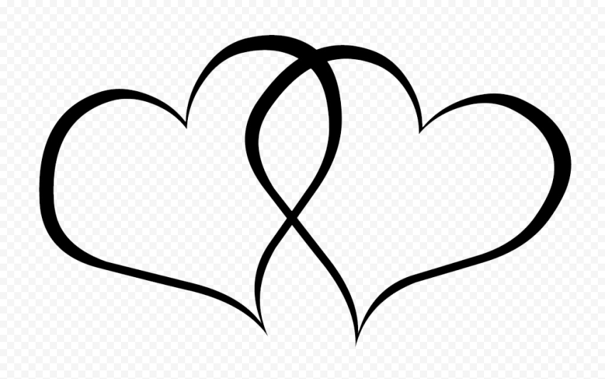Two Black Outline Love Heart