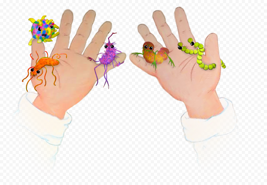 Two Hands Infection Bacteria Germs Cartoon