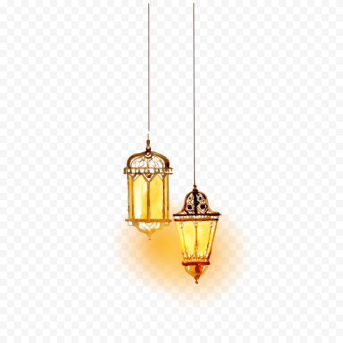 Two Watercolor Arabic Hanging Light Lanterns Lamps