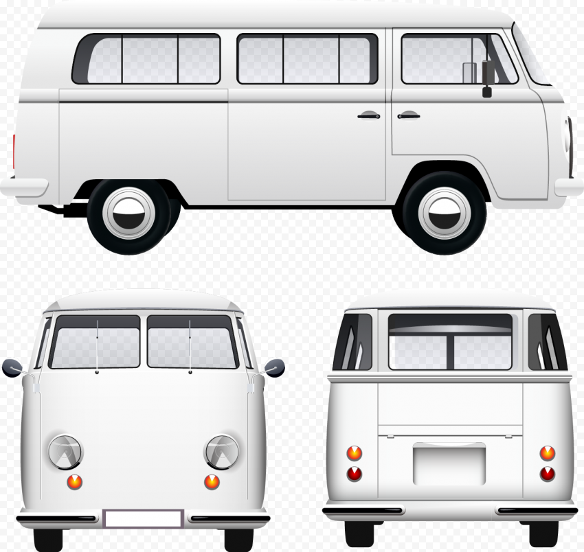 Volkswagen Van Illustration White