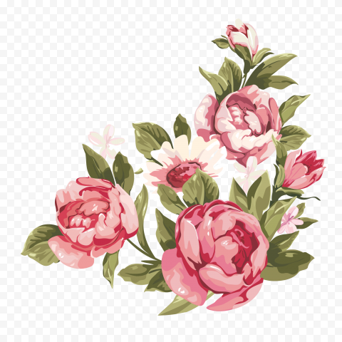 Watercolor Romantic Pink Flower Corner