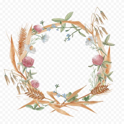 Watercolor Wreath cereal wildflowers png