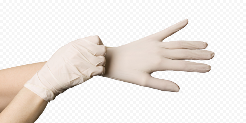 Wearing Medical Gloves Surgical Rubber White